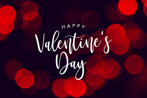 Happy Valentine's Day Celebration Text Over Red Duotone Lights Background 901358956