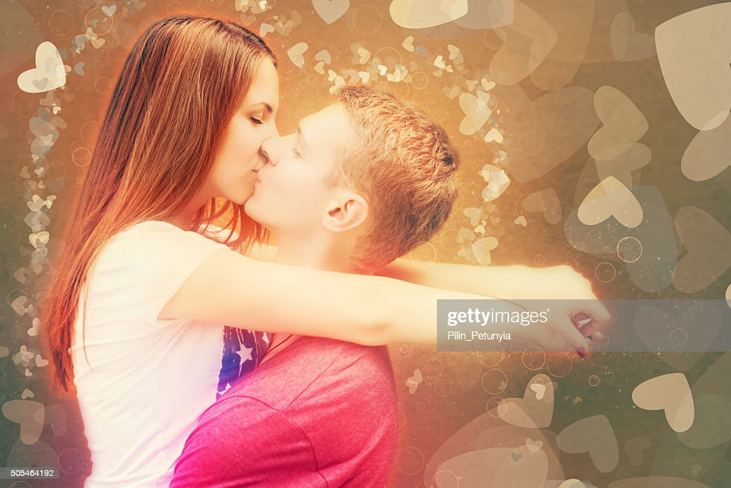 Happy Valentinstag Paar Kussen Stock Foto Getty Images