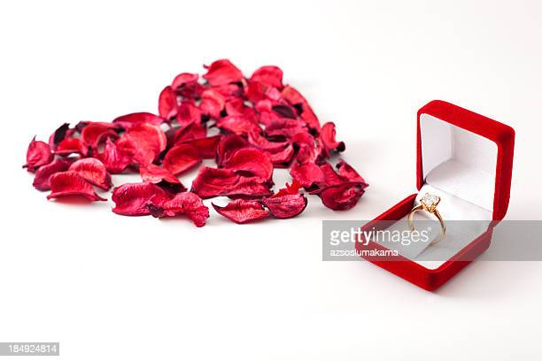 happy valentine's day - engagement ring box stock photos and pictures