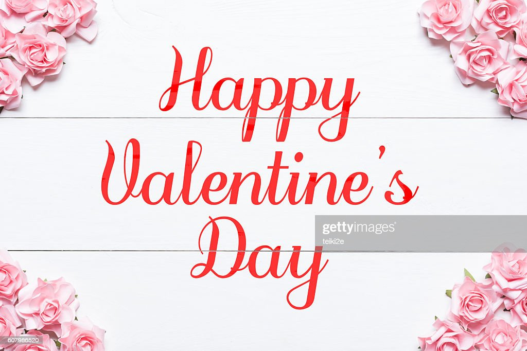 Happy Valentines Day Pink Roses Frame Background Stock Photo Getty