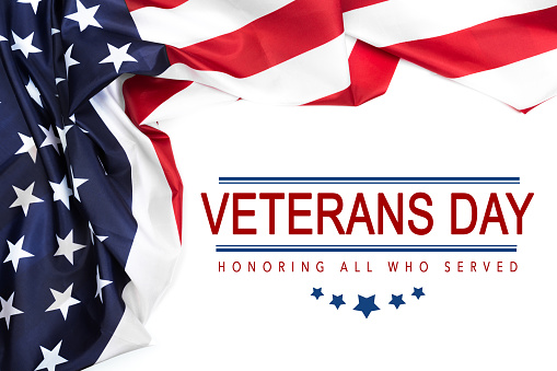 Happy Veterans Day with American flag - Image 1170532598