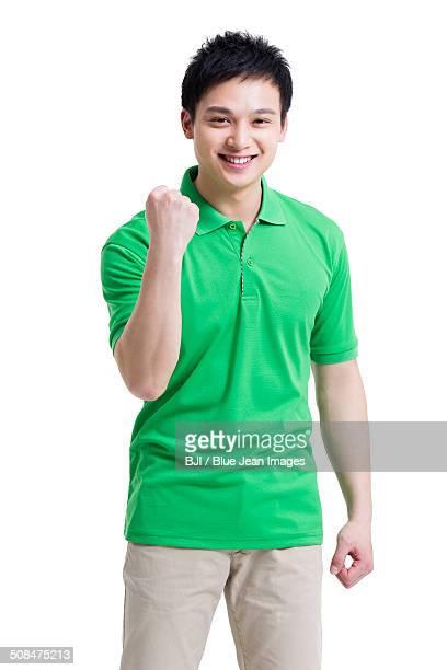 Happy volunteer gesturing