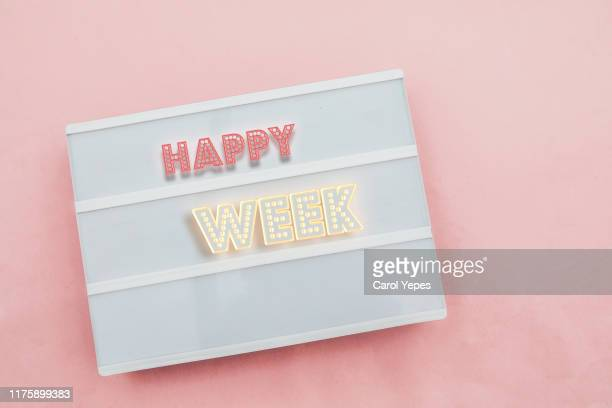 happy week  message in lightbox - week stock pictures, royalty-free photos & images