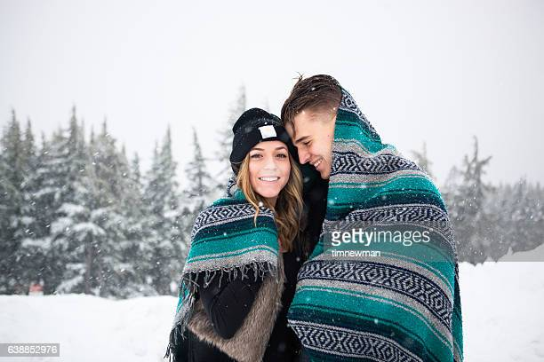 Happy Winter Snow Couple Together