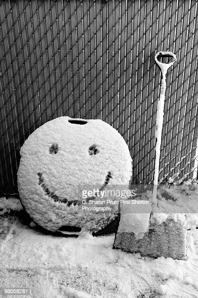 Happy Winter Snow Shovel and Smiley Face
