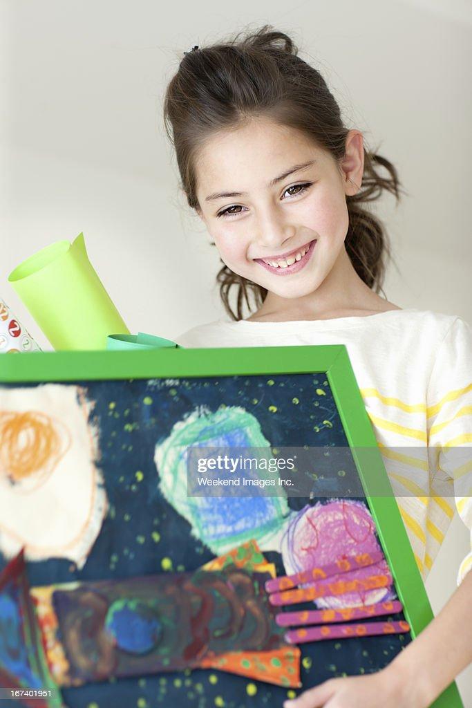Happy with art : Stock Photo