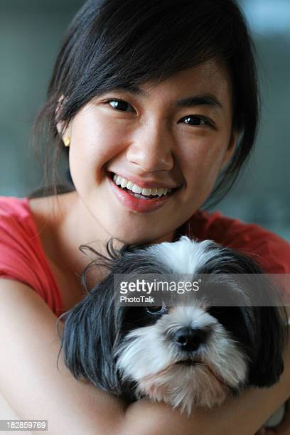 happy woman and cute dog - xlarge - korean teen stock pictures, royalty-free photos & images