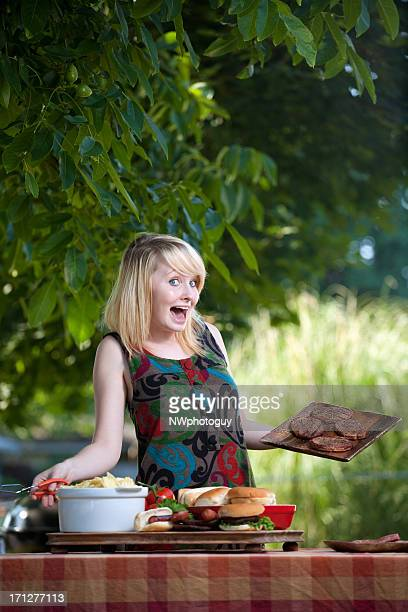 Happy Woman at Barbecue