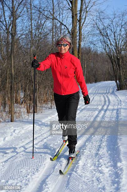 Happy woman, cross-country skiing, winter sport