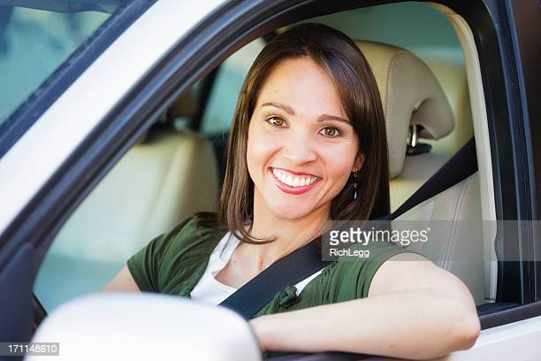 happy woman driver - rich_legg stock pictures, royalty-free photos & images