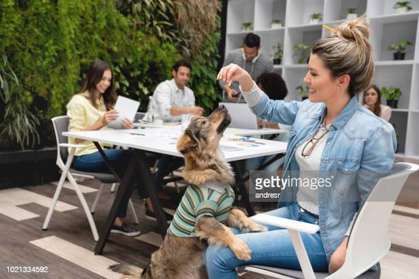 Happy woman giving treats to a rescue dog