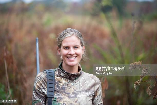happy woman hunter - hunting stock pictures, royalty-free photos & images