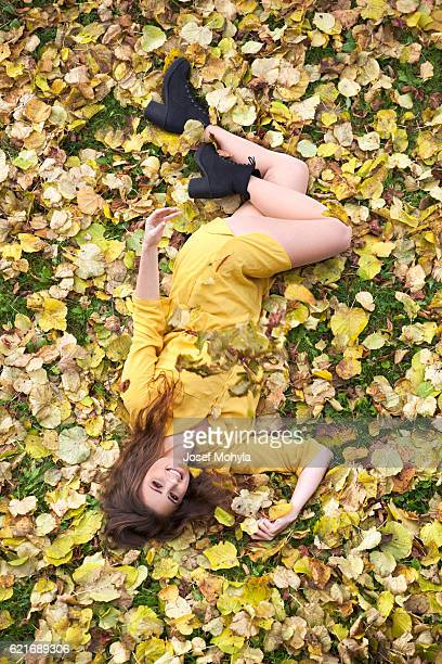 Happy woman in autumn colors