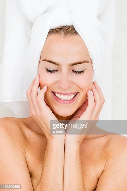 Happy woman in the bathroom