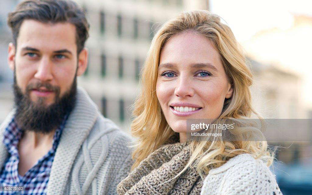 Happy woman looking at camera. : Stock Photo