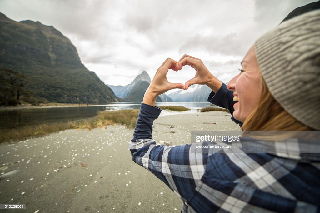 Happy woman loves nature : Stock Photo