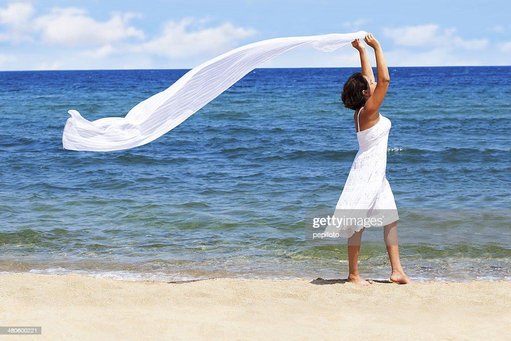 Happy Woman on the Beach : Stock Photo