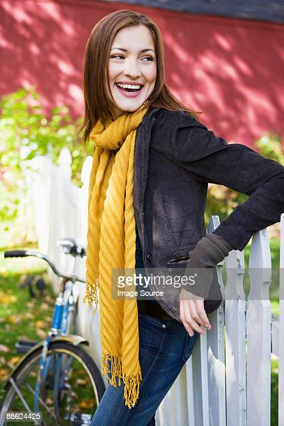 happy woman outdoors - neckwear stock pictures, royalty-free photos & images