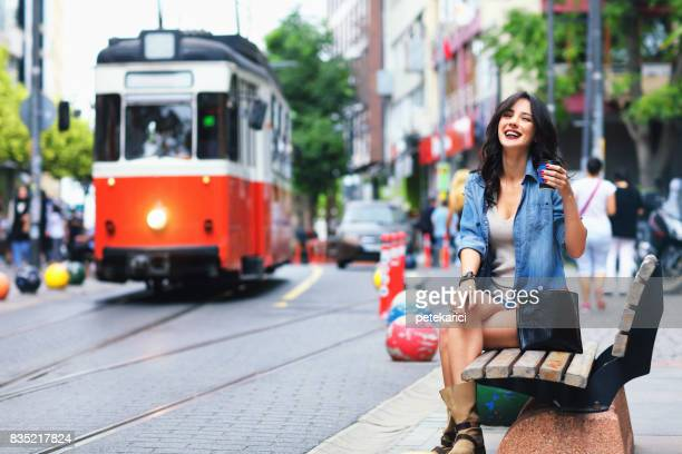 happy woman - kadikoy stock photos and pictures