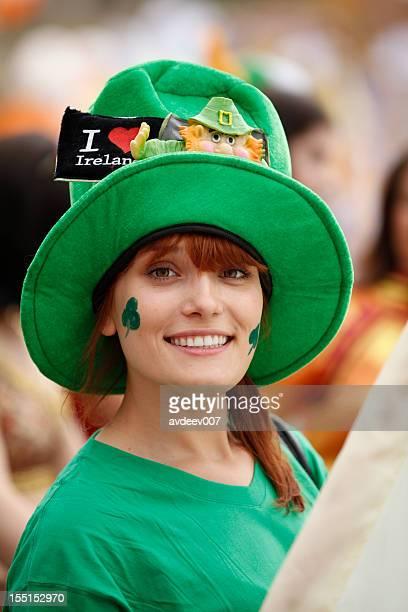 happy woman portrait (saint patrick's day) - st patricks day stock pictures, royalty-free photos & images