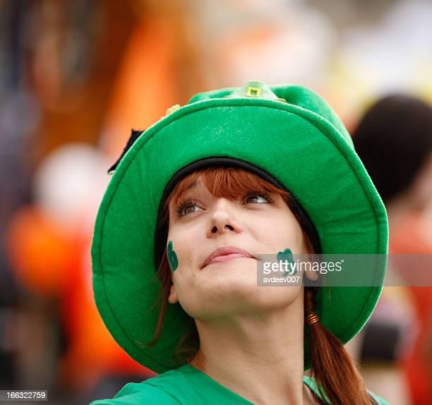 happy woman portrait (saint patrick's day) - leprechaun stock pictures, royalty-free photos & images