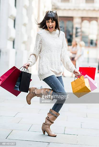 happy woman shopping - skipping along stock pictures, royalty-free photos & images