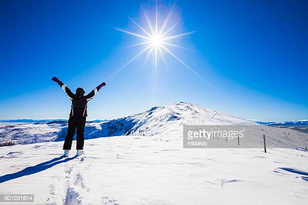 happy woman skier on top of ski resort - carinthia stock pictures, royalty-free photos & images
