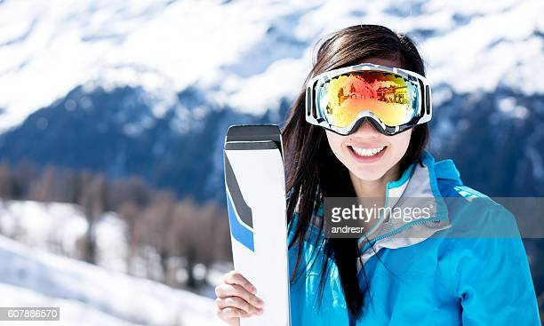 happy woman skiing - ski goggles stock pictures, royalty-free photos & images