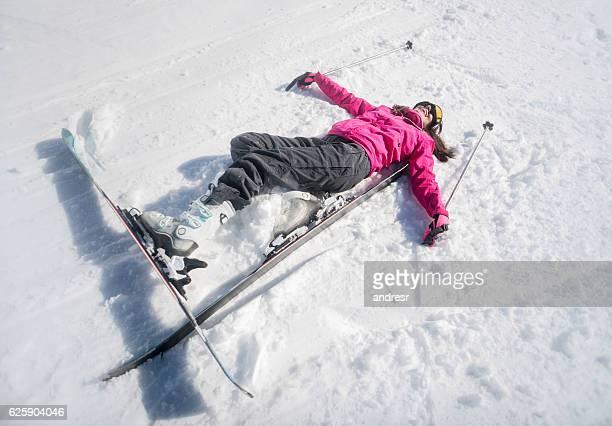 Happy woman skiing