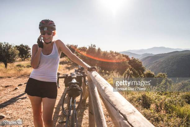 Happy Woman Talking on Phone in Las Médulas