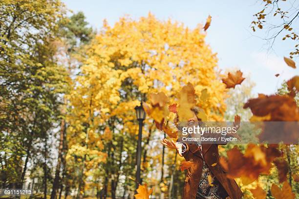 happy woman throwing dry autumn leaves - bortes foto e immagini stock