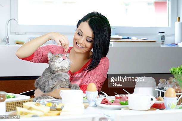 happy woman with cat