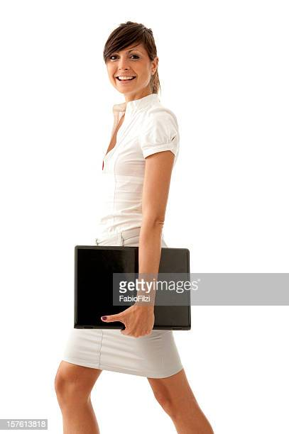 happy woman  with laptop - fabio filzi stock photos and pictures