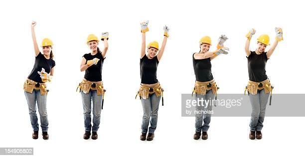Glückliche Frau Arbeiter, isoliert auf weiss