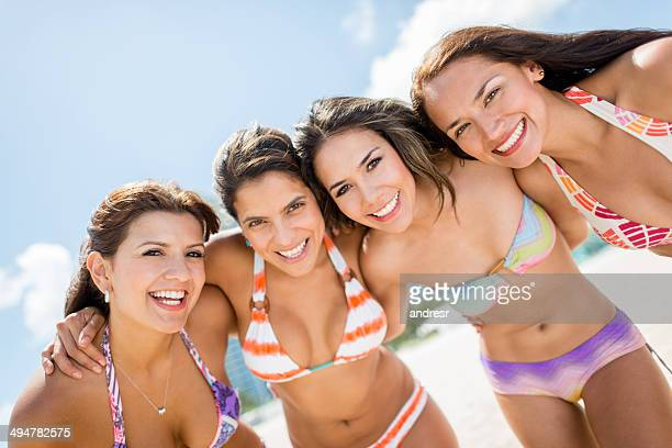 Happy women at the beach