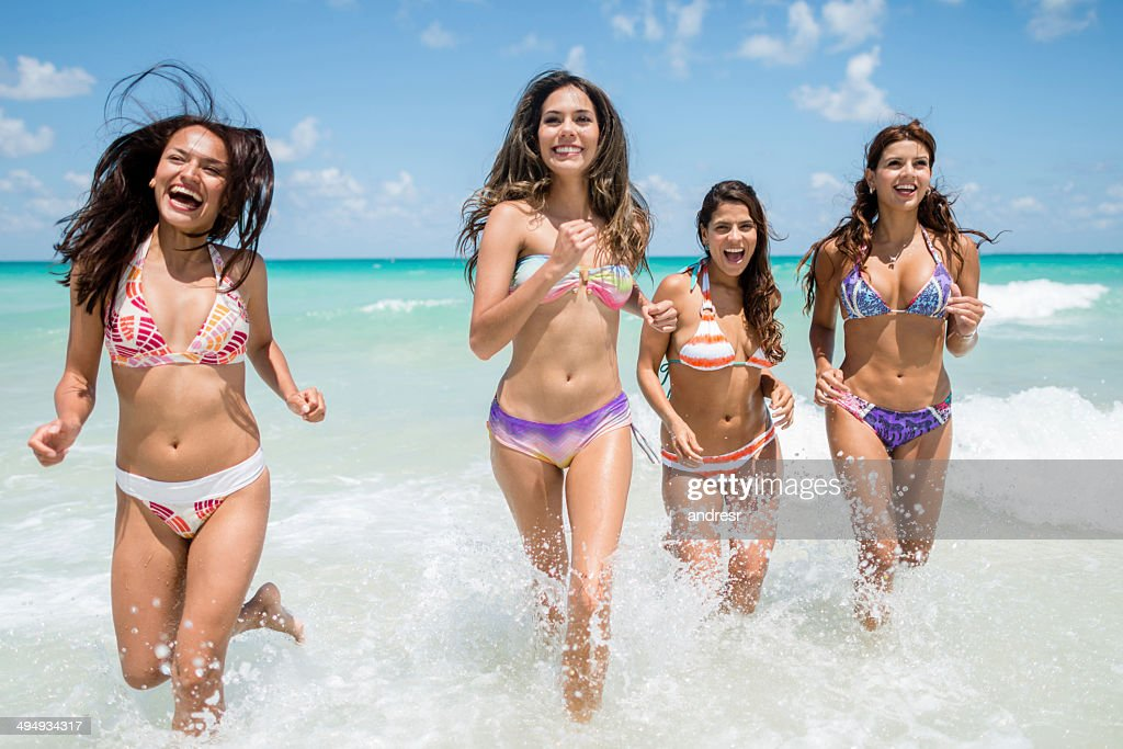 Hy Women At The Beach Stock Photo