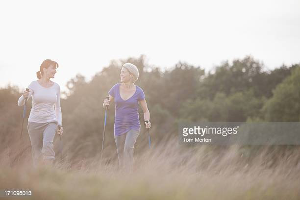 Happy women hiking together outdoors