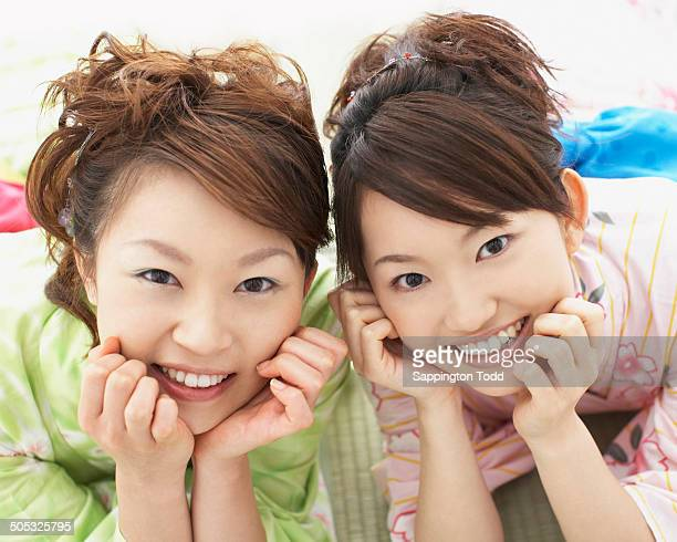 happy women in yukata - side by side stock photos and pictures