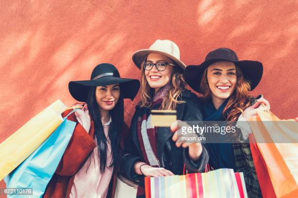 Happy women on shopping
