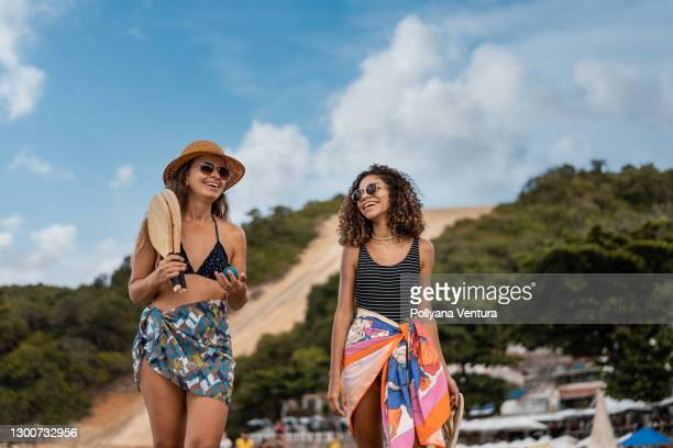 happy women on the beach of rio grande do norte natal - natal brazil stock pictures, royalty-free photos & images