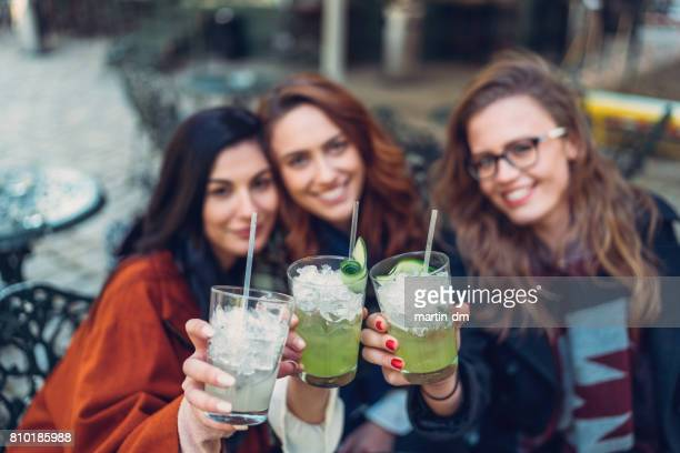 happy women raising toast to the camera - mojito stock photos and pictures
