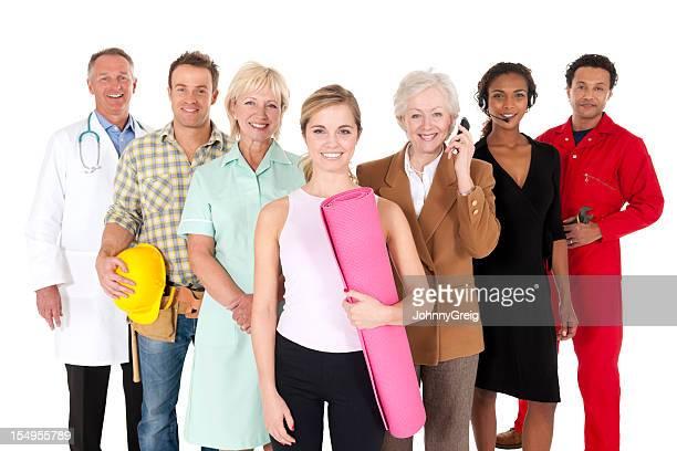 Happy arbeiten Menschen, isoliert auf weiss