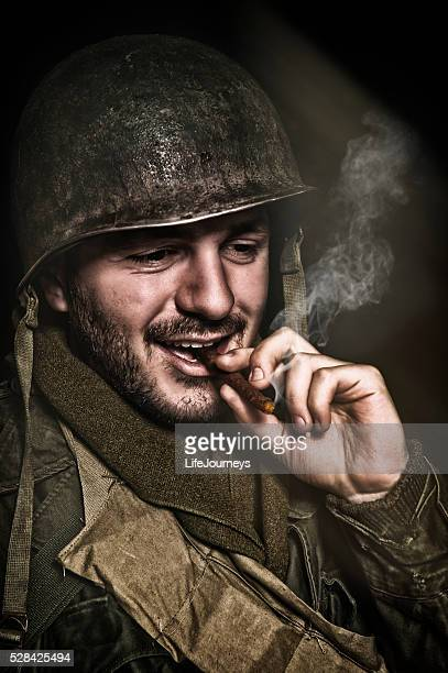 Happy WWII Soldier Smoking A Roll Your Own Cigarette