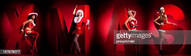 fröhliche weihnachten - weihnachtsfrau stock-fotos und bilder