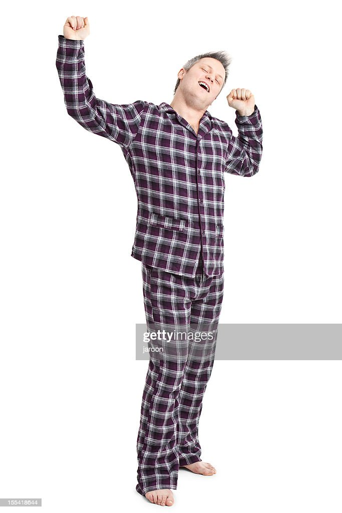 happy young adult in pyjamas : Stock Photo