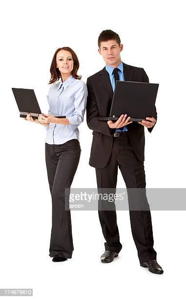 Heureux jeune couple d'affaires avec ordinateurs portables