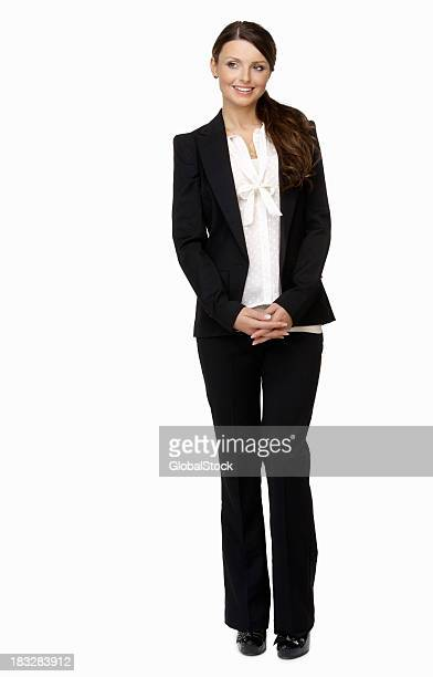 Happy young business woman against white background