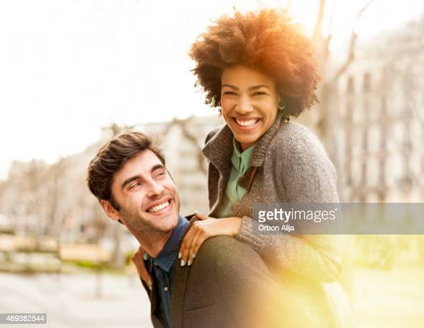 Happy young couple in Barcelona