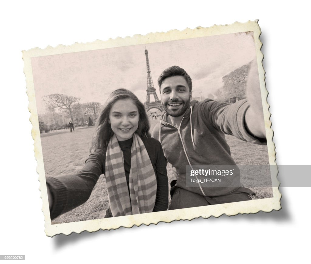 Happy young couple in Paris. : Stock Photo
