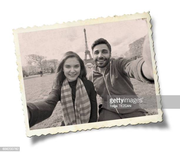 happy young couple in paris. - photo album stock photos and pictures